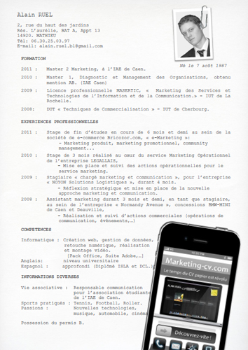 CV papier alain ruel marketing blog cv original