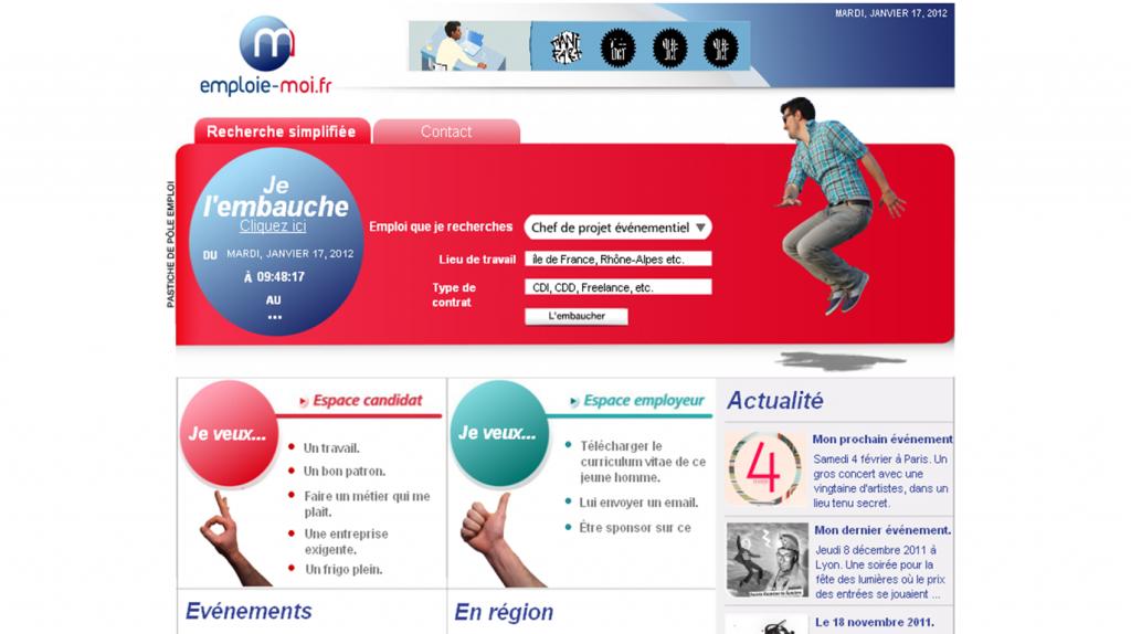 emploie-moi.fr , le site parodique de Pôle Emploi, Romain de Bascher