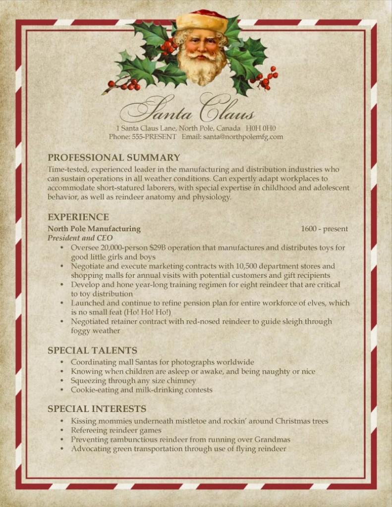 Le CV du père Noel ! Christmas Resume