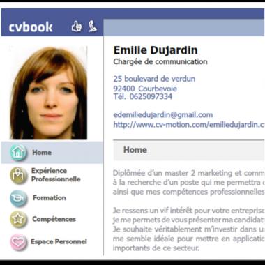 le CV chargée de communication facon facebook de Emilie Dujardin