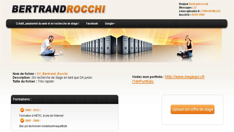 CV original Mega upload de Bertrand Rocchi.