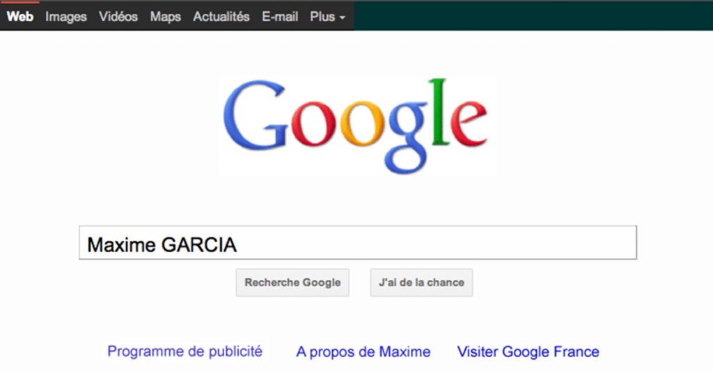 CV Google de Maxime Garcia
