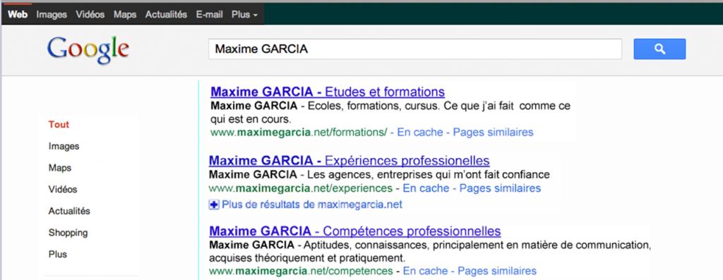 Le CV Google de Maxime Garcia premiere page résultats Google.