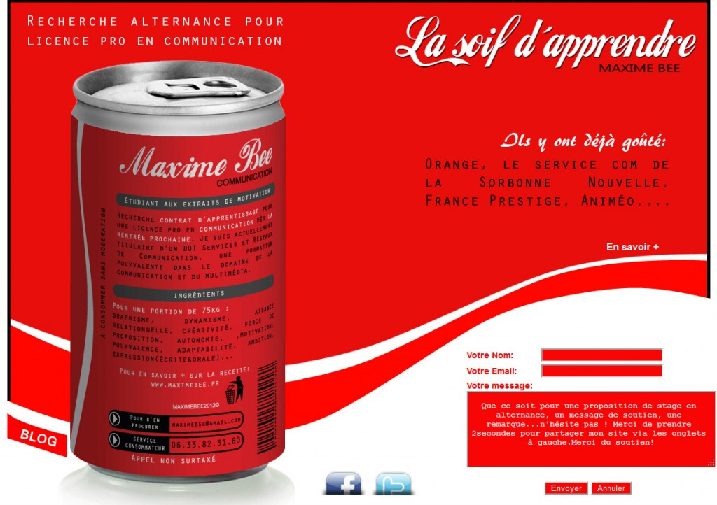 Capture du CV de Maxime Bee , à la touch' Coca Cola