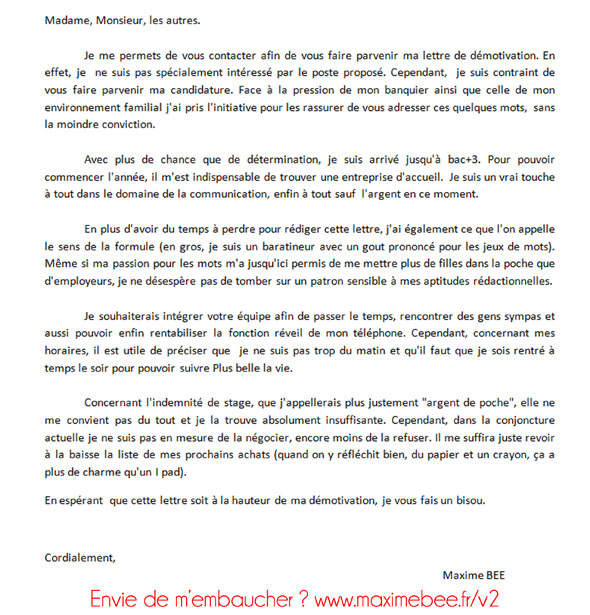 lettre de motivation webmaster