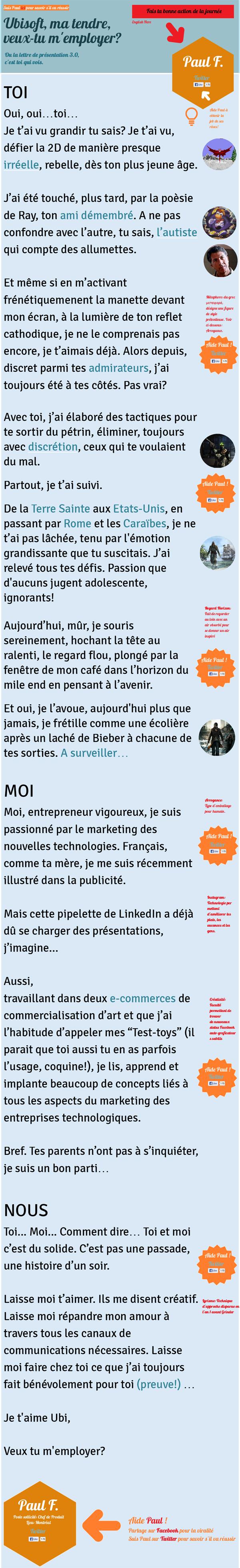 Moi Nous Vous Lettre De Motivation Cv Ubisoft Paul Feraud Lettre Motivation Original