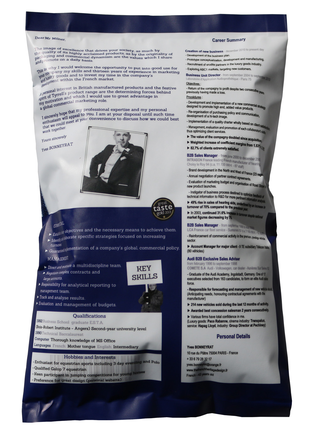 la candidature qui va vous faire craquer et saliver   le cv paquet de chips